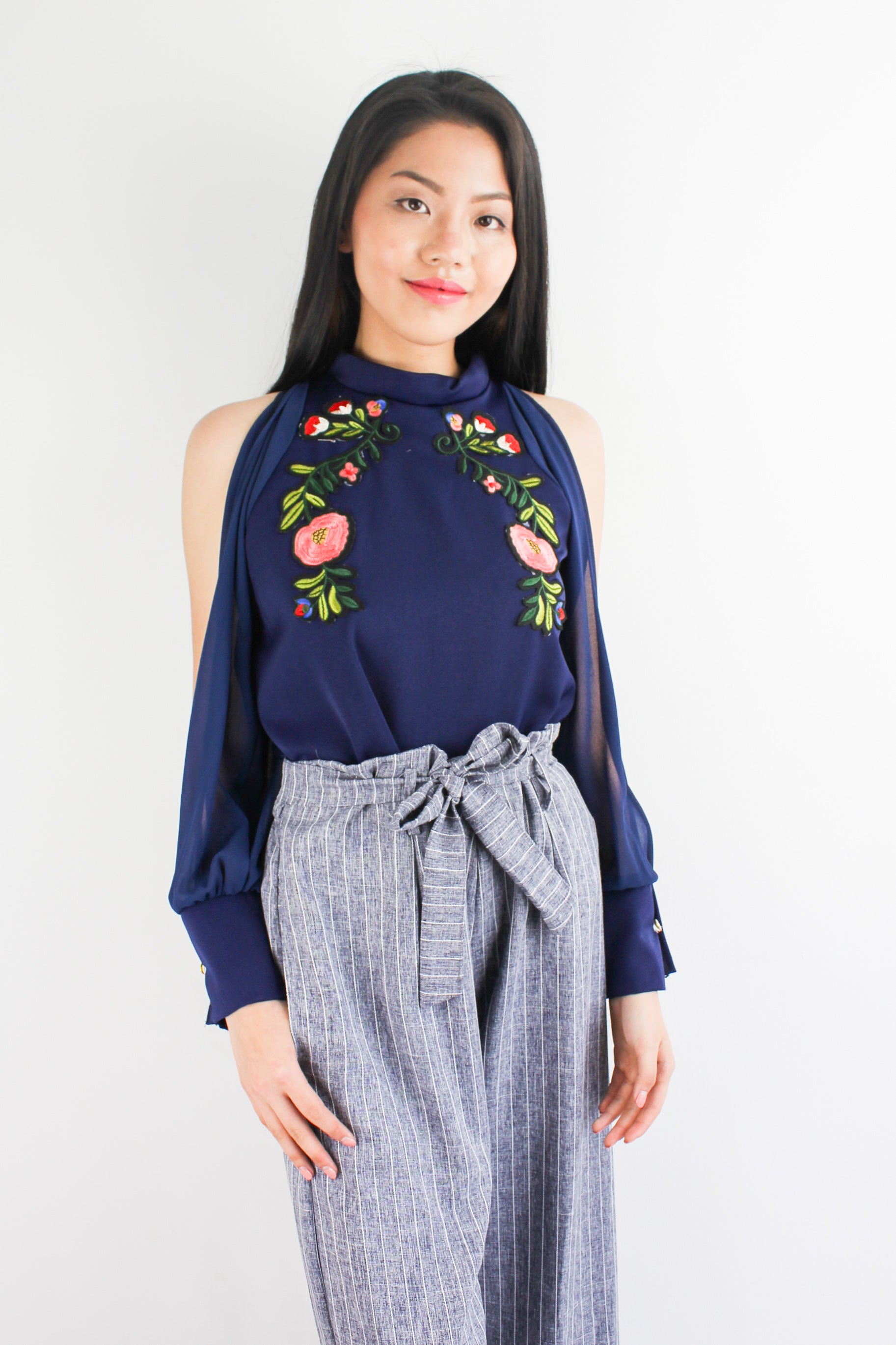 I've Got the Flower Embroidered Top in Navy Blue