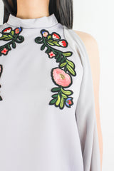 I've Got the Flower Embroidered Top in Light Grey