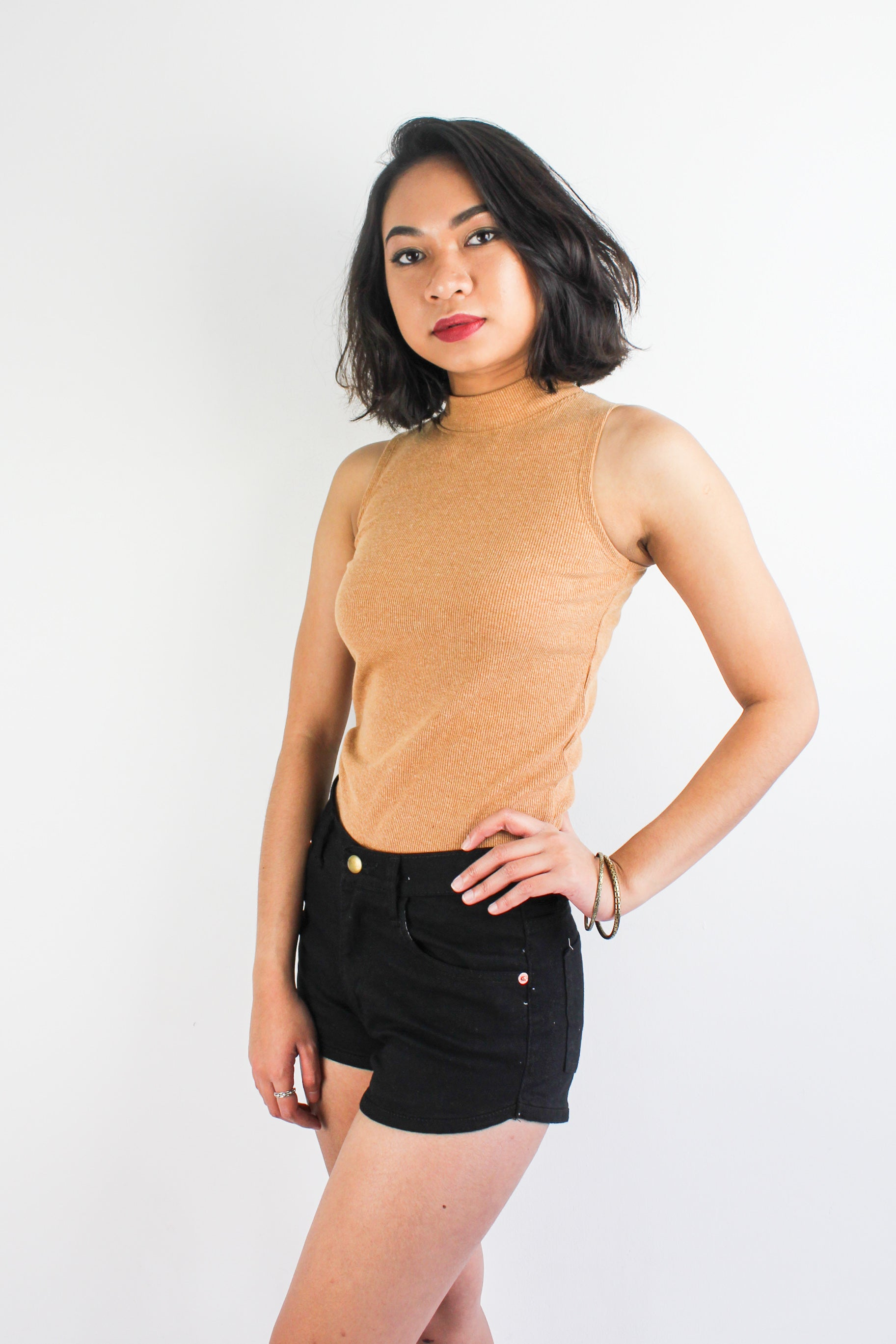 Get Ribbed Essential Top in Camel Brown