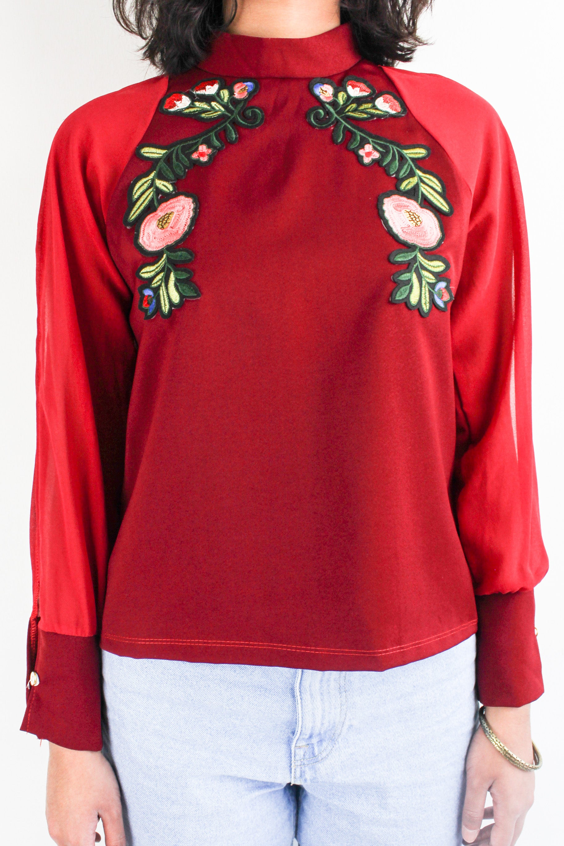 I've Got the Flower Embroidered Top in Wine Red