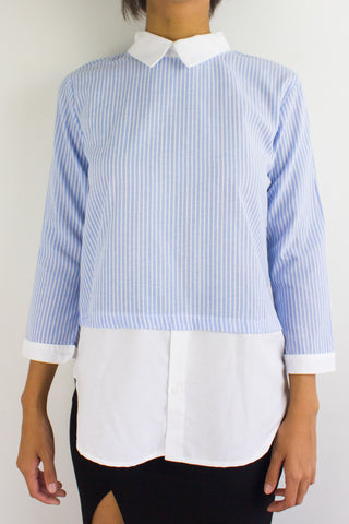 Your A Game Striped Top in Light Blue