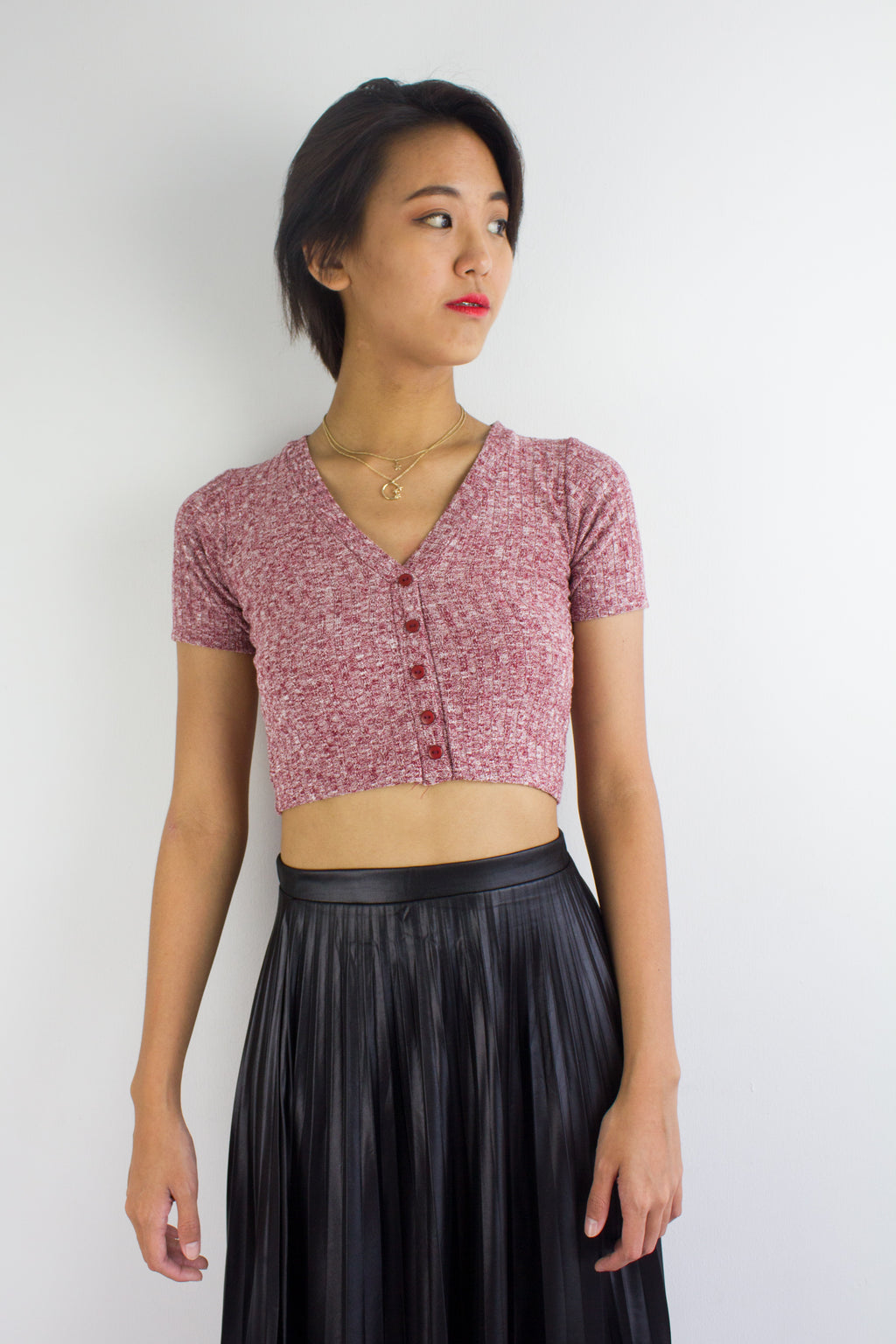 Sadie Speckled Crop Top in Red - TOPS - Peep Boutique