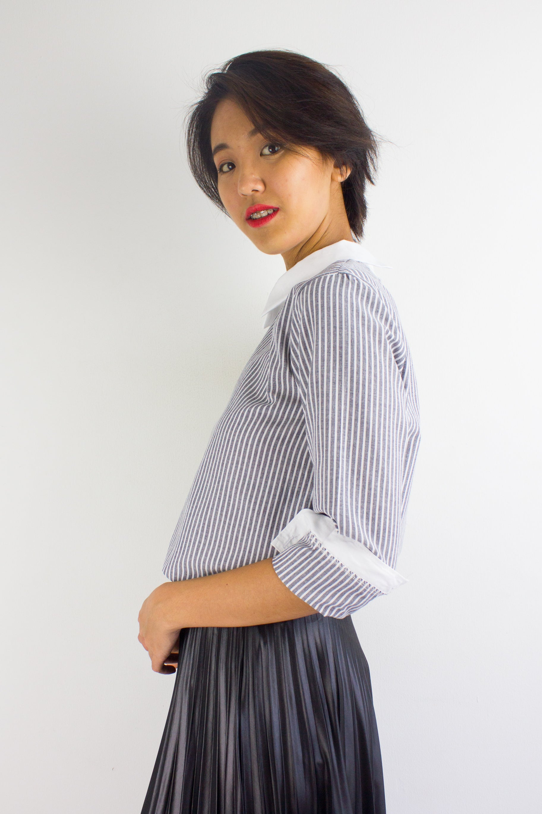 Your A Game Striped Top in Black
