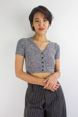 Sadie Speckled Crop Top in Dark Grey
