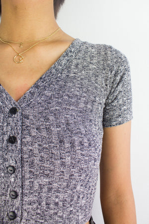 Sadie Speckled Crop Top in Dark Grey - TOPS - Peep Boutique