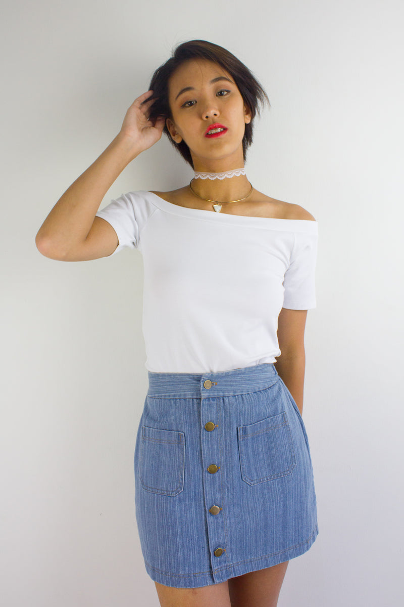 Bridgette Boatneck Tee in White - TOPS - Peep Boutique