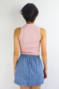 Get Ribbed Essential Top in Dusty Pink - TOPS - Peep Boutique