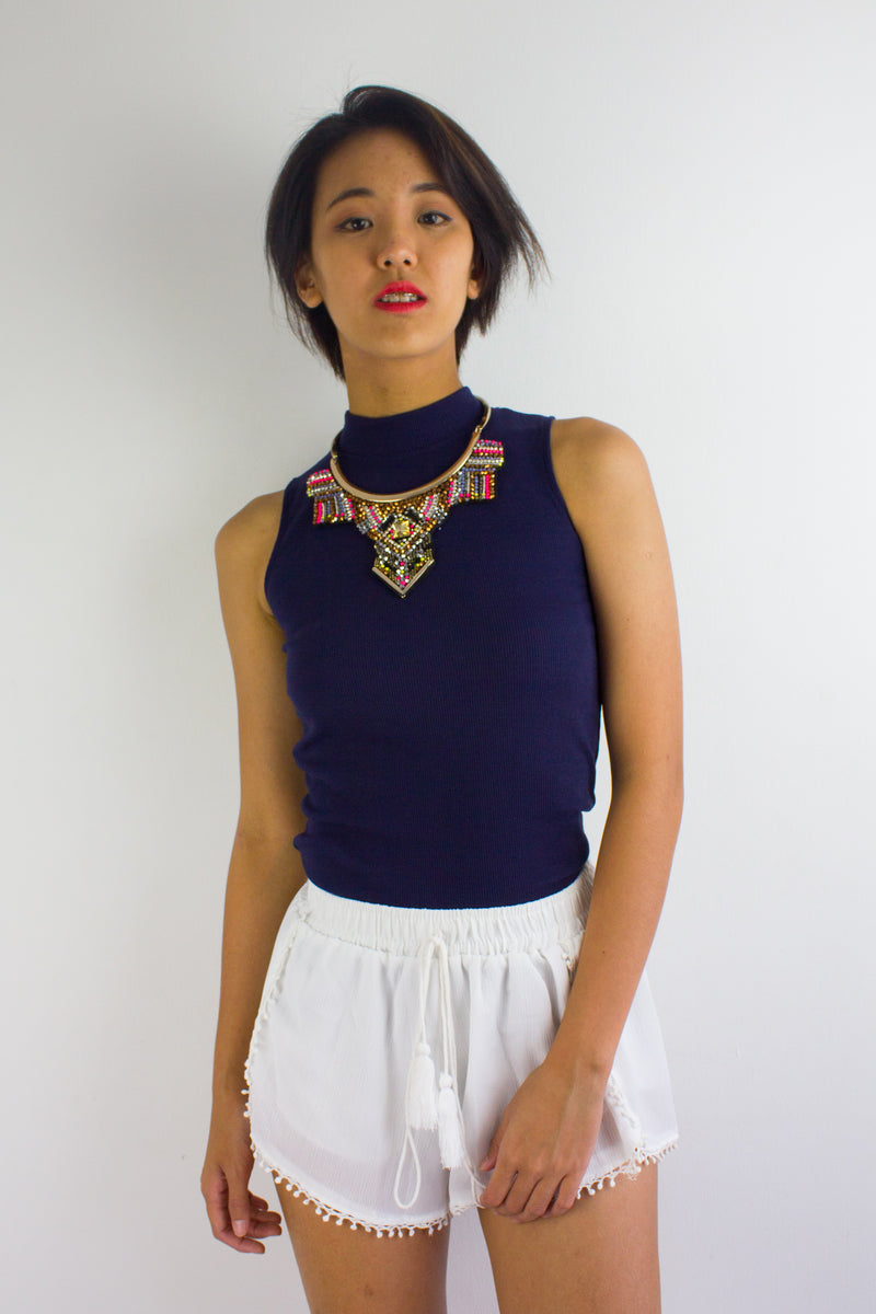 Get Ribbed Essential Top in Navy Blue - TOPS - Peep Boutique