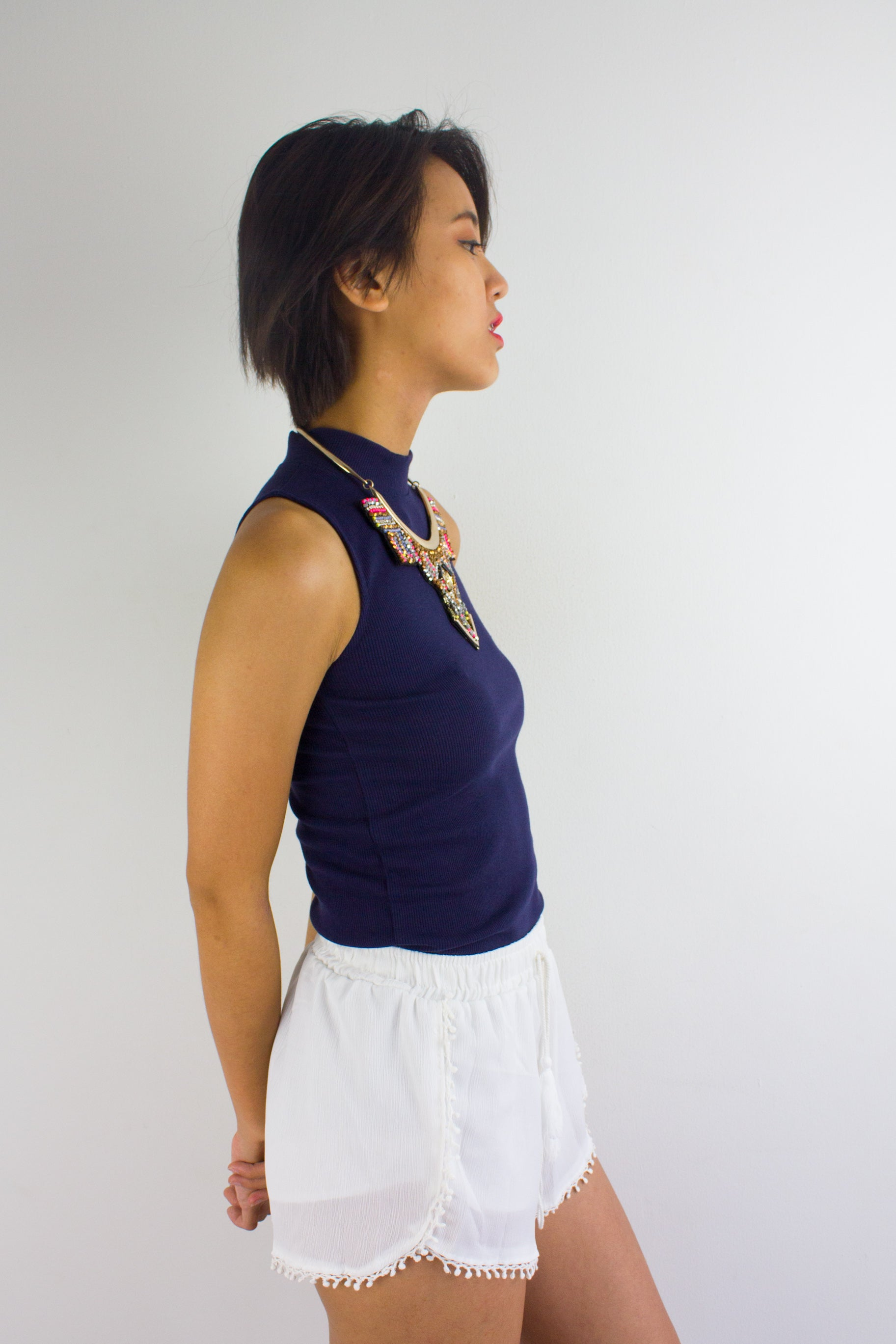 Get Ribbed Essential Top in Navy Blue