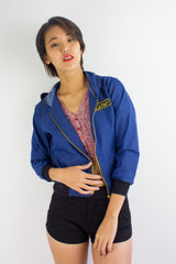 Bombs Away Denim Military Jacket in Royal Blue