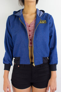 Bombs Away Denim Military Jacket in Royal Blue - TOPS - Peep Boutique