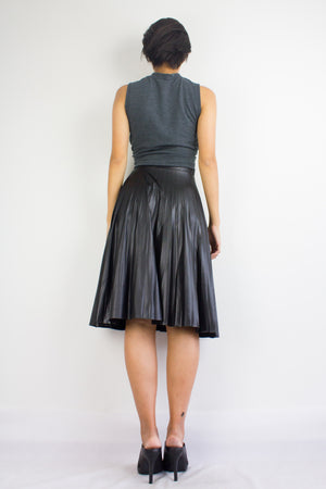 Com-Pleat Control Pleather Midi Skirt in Black - BOTTOMS - Peep Boutique