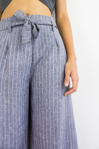 Penny Pinstripes Culottes in Blue Grey