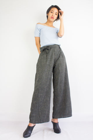 Penny Pinstripes Culottes in Black