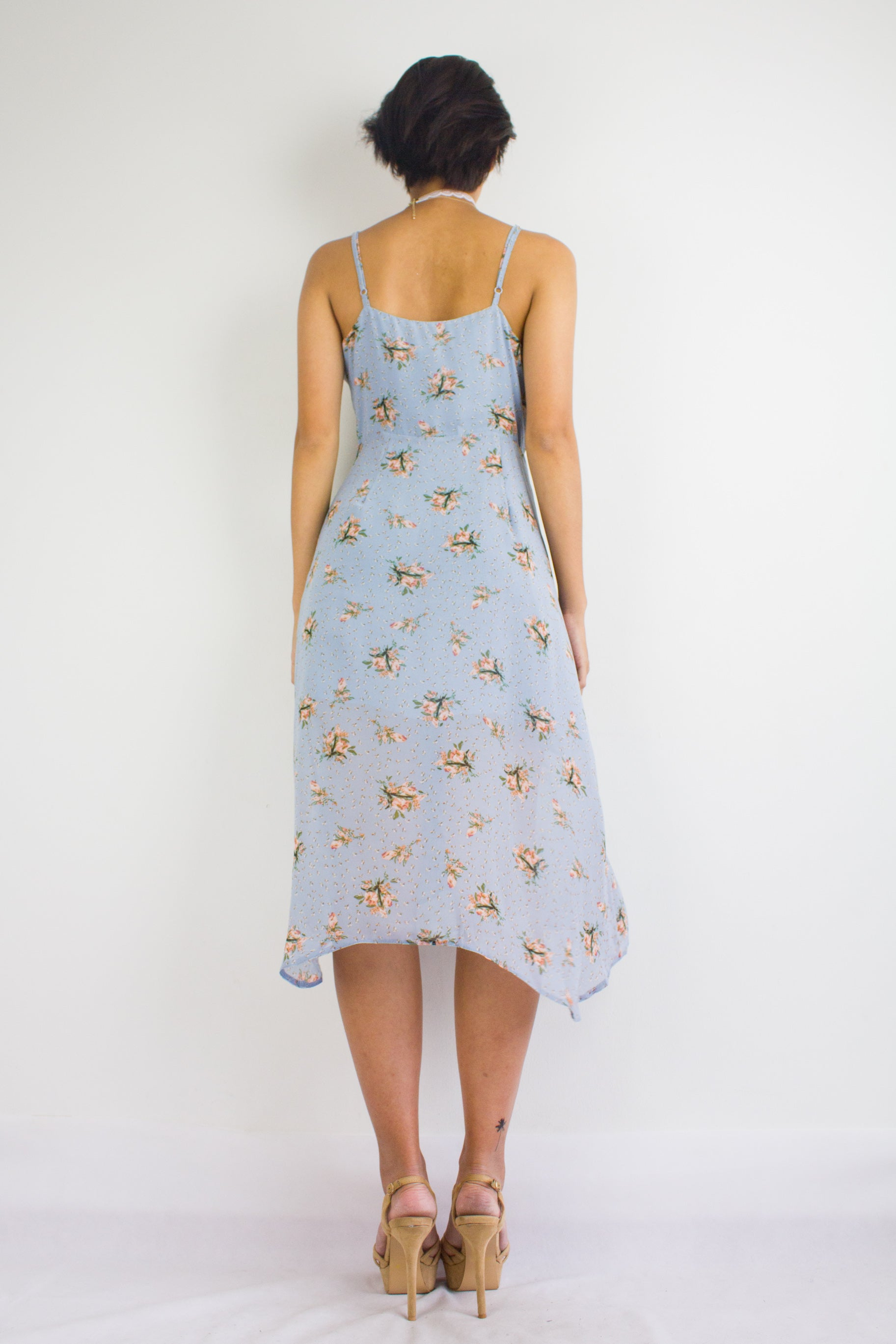 Baby's Breath Floral Dress in Powder Blue
