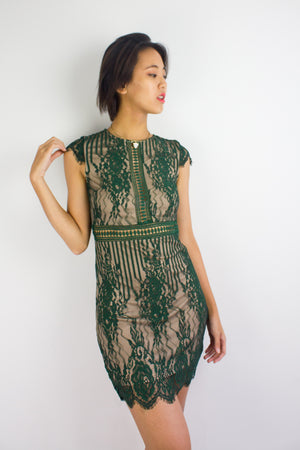 Lila Lacy Mini Dress in Forest Green - DRESSES - Peep Boutique