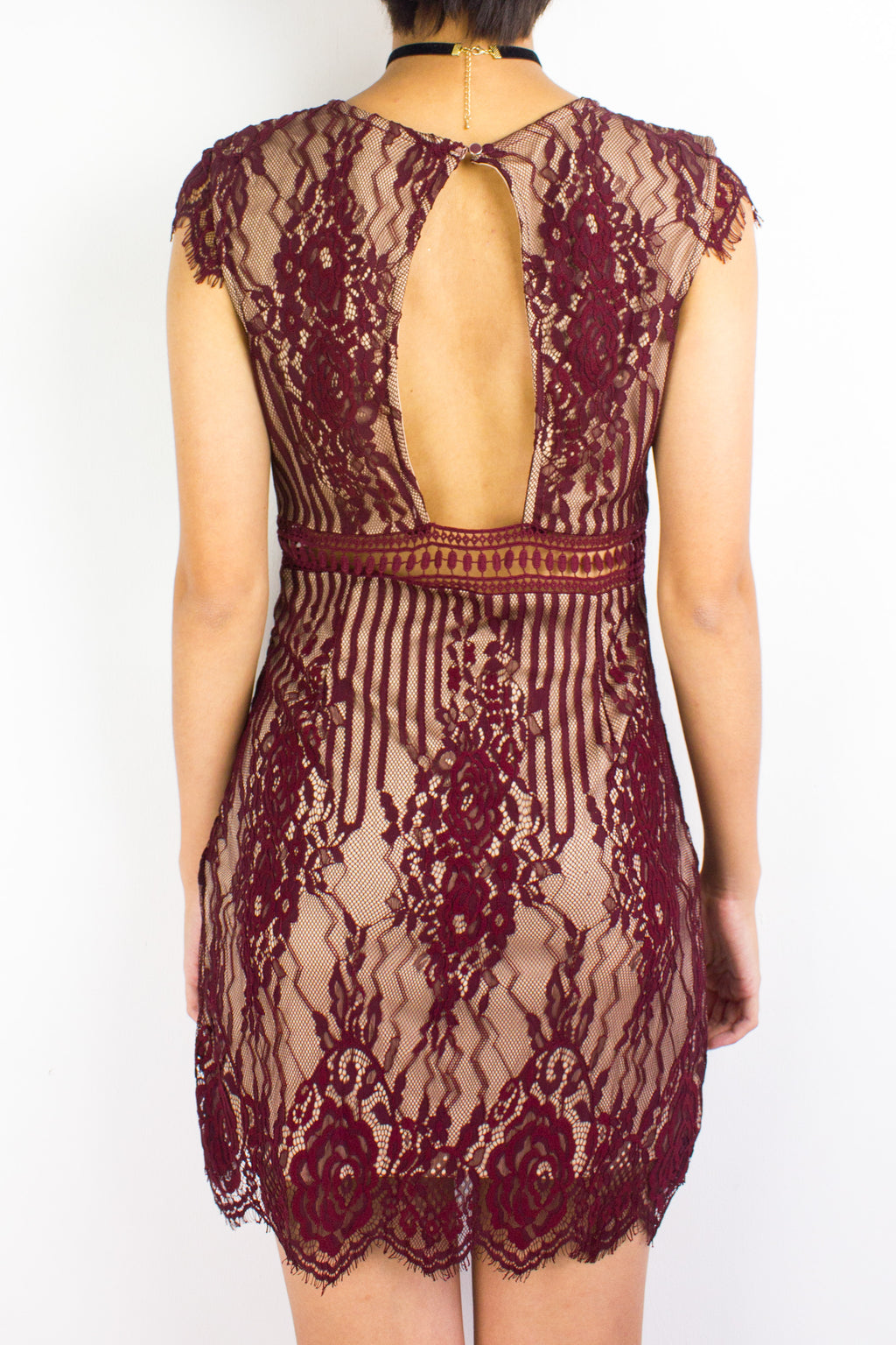 Lila Lacy Mini Dress in Wine Red - DRESSES - Peep Boutique