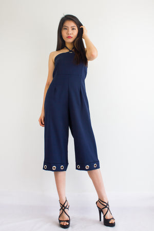 Great Grommet Midi Jumpsuit in Navy Blue - BOTTOMS - Peep Boutique
