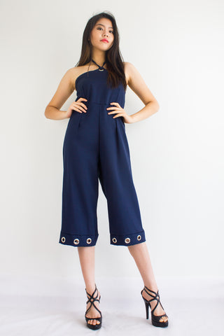 Great Grommet Midi Jumpsuit in Navy Blue