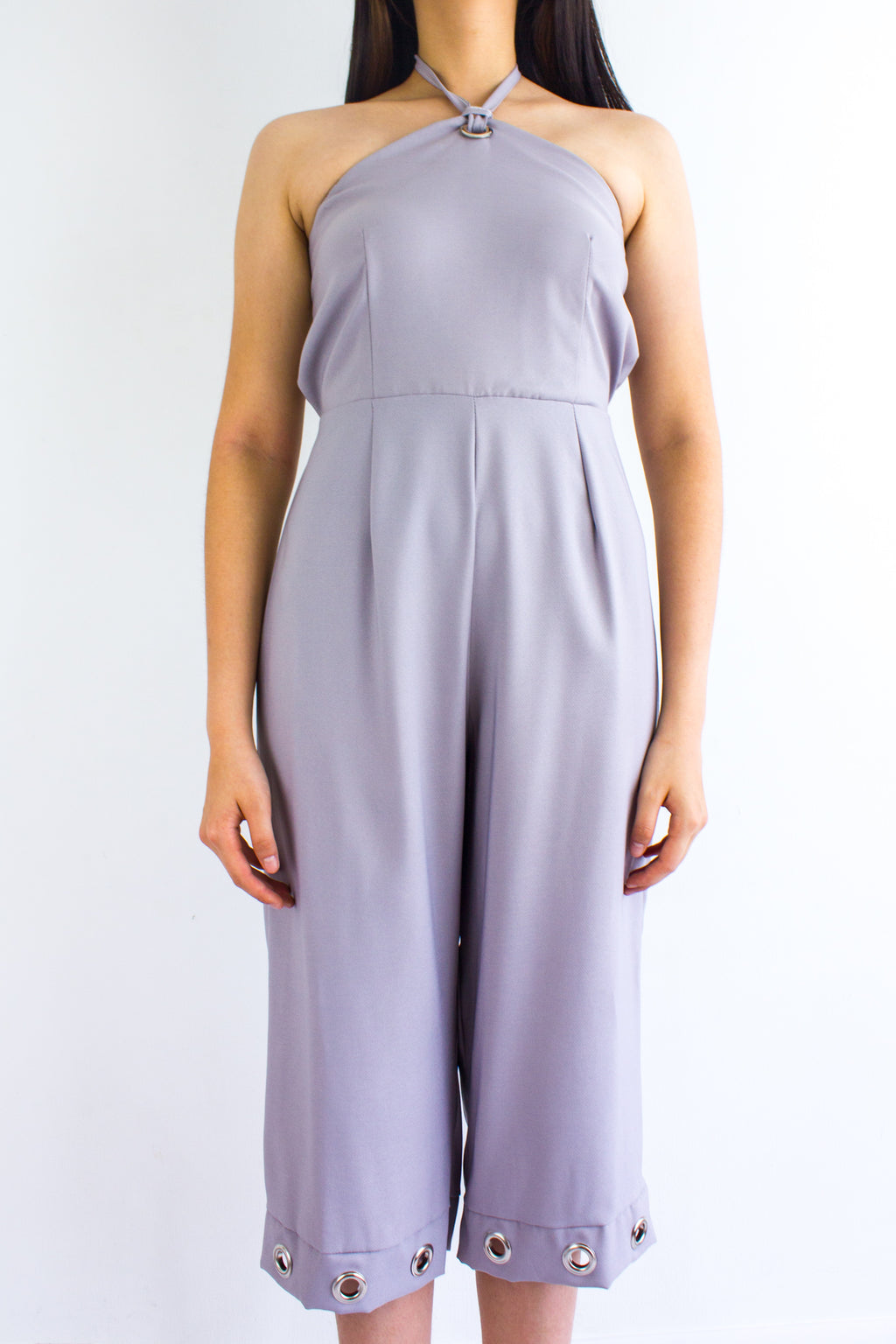 Great Grommet Midi Jumpsuit in Grey - BOTTOMS - Peep Boutique