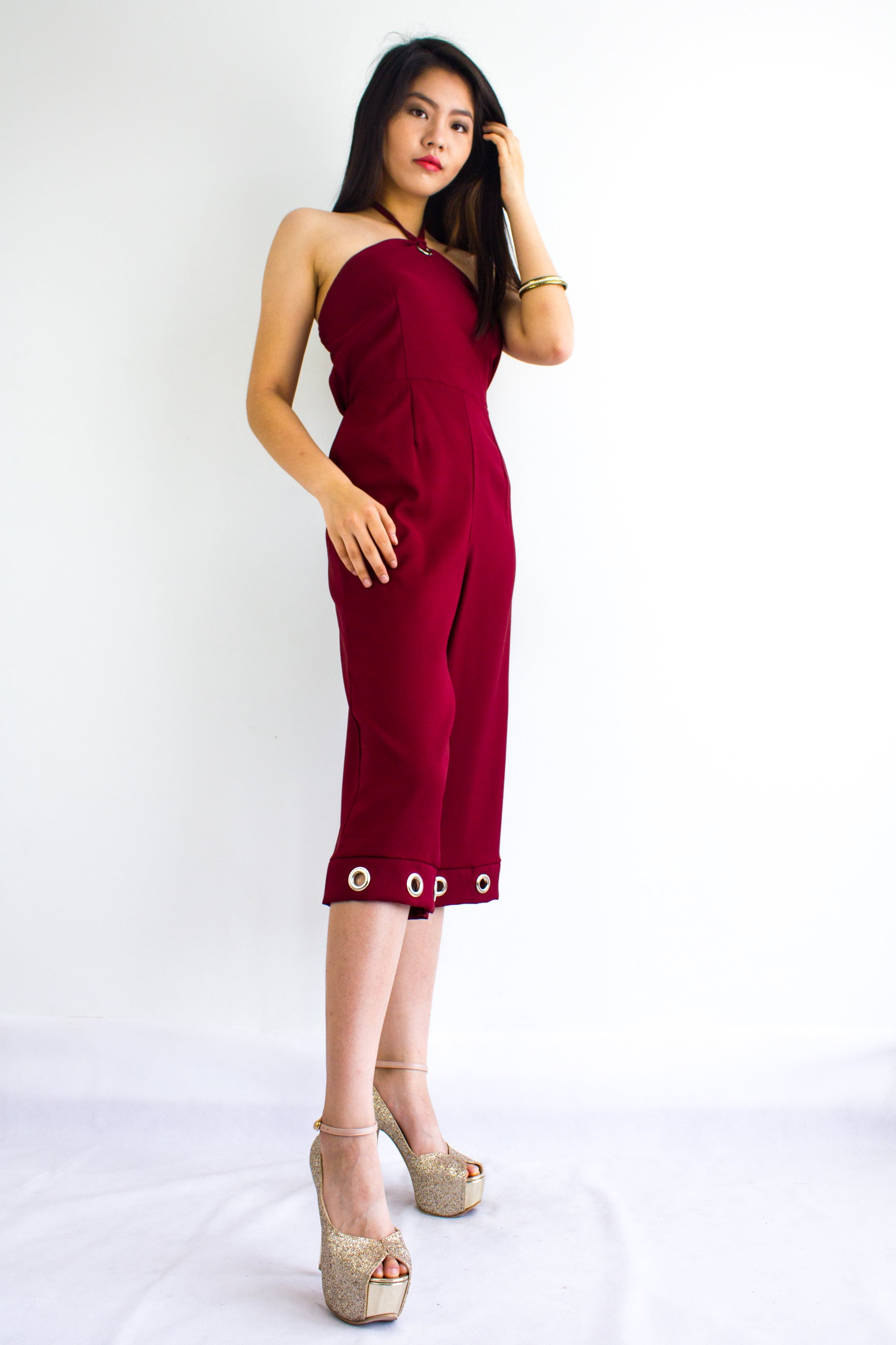 Great Grommet Midi Jumpsuit in Wine Red