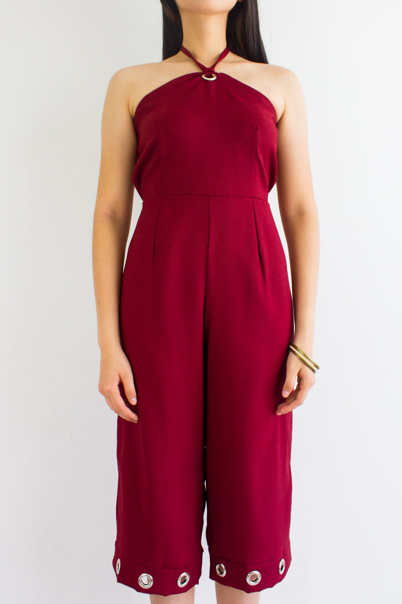 Great Grommet Midi Jumpsuit in Wine Red - BOTTOMS - Peep Boutique