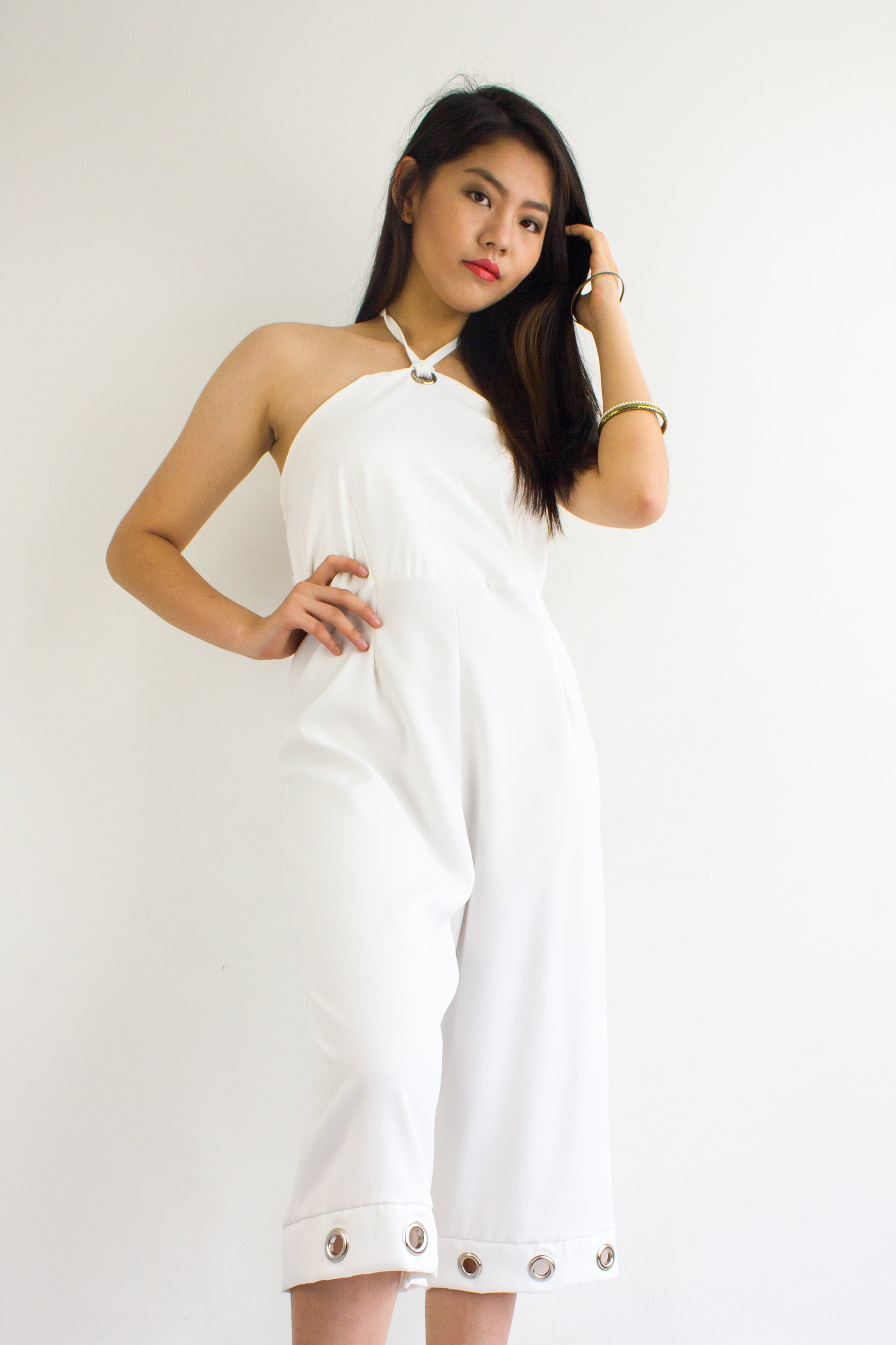 Great Grommet Midi Jumpsuit in White