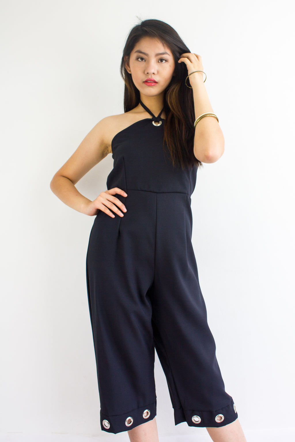 Great Grommet Midi Jumpsuit in Black - BOTTOMS - Peep Boutique