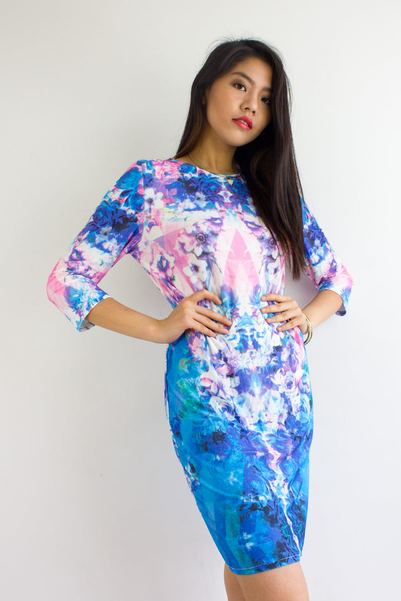 Paint With The Wind Watercolour Midi Dress - DRESSES - Peep Boutique