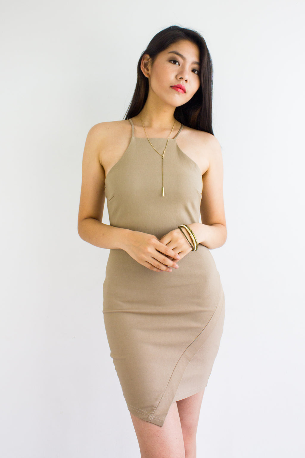 Queen B Fitted Mini Dress in Beige - DRESSES - Peep Boutique