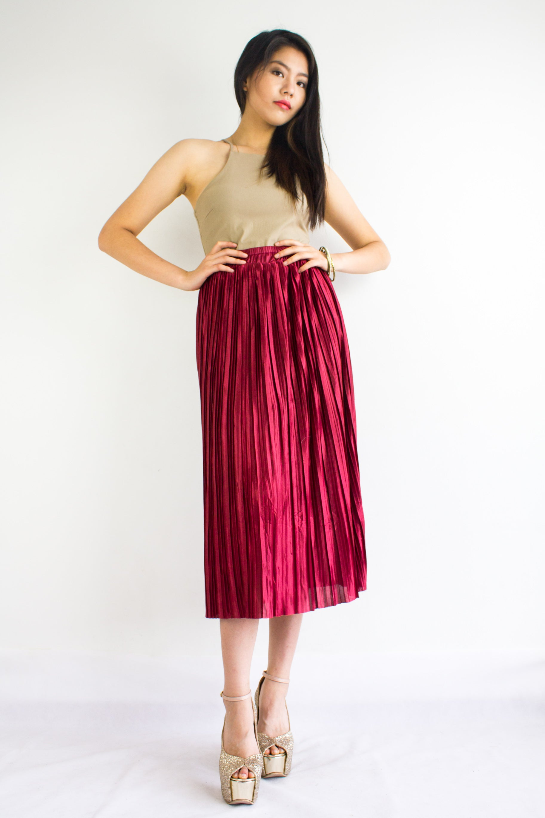 Pleats Please Metallic Skirt in Ruby Red