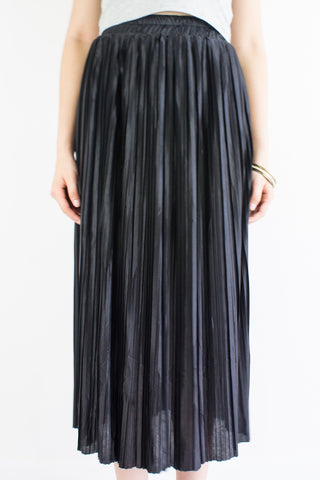 Pleats Please Metallic Skirt in Inky Black