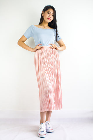 Pleats Please Metallic Skirt in Pink Quartz