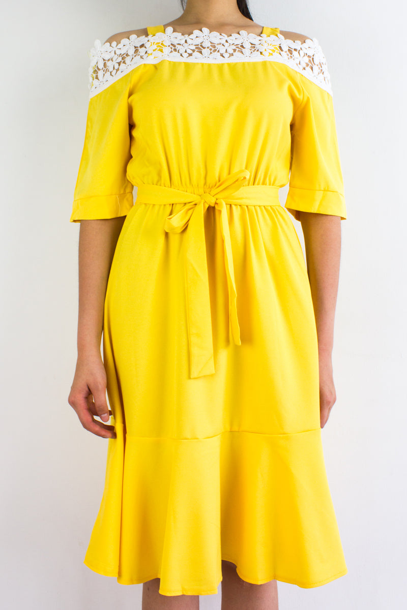 Isobel Crochet Trumpet Dress in Sunshine Yellow - DRESSES - Peep Boutique