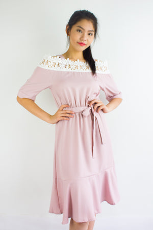 Isobel Crochet Trumpet Dress in Dusty Pink - DRESSES - Peep Boutique