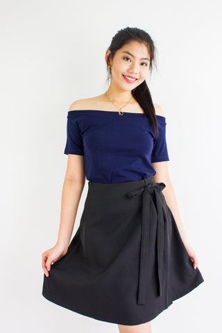 All A-Lined Ribbon Mini Skirt in Black