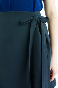 All A-Lined Ribbon Mini Skirt in Black - BOTTOMS - Peep Boutique
