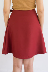 All A-Lined Ribbon Mini Skirt in Dusty Rose - BOTTOMS - Peep Boutique
