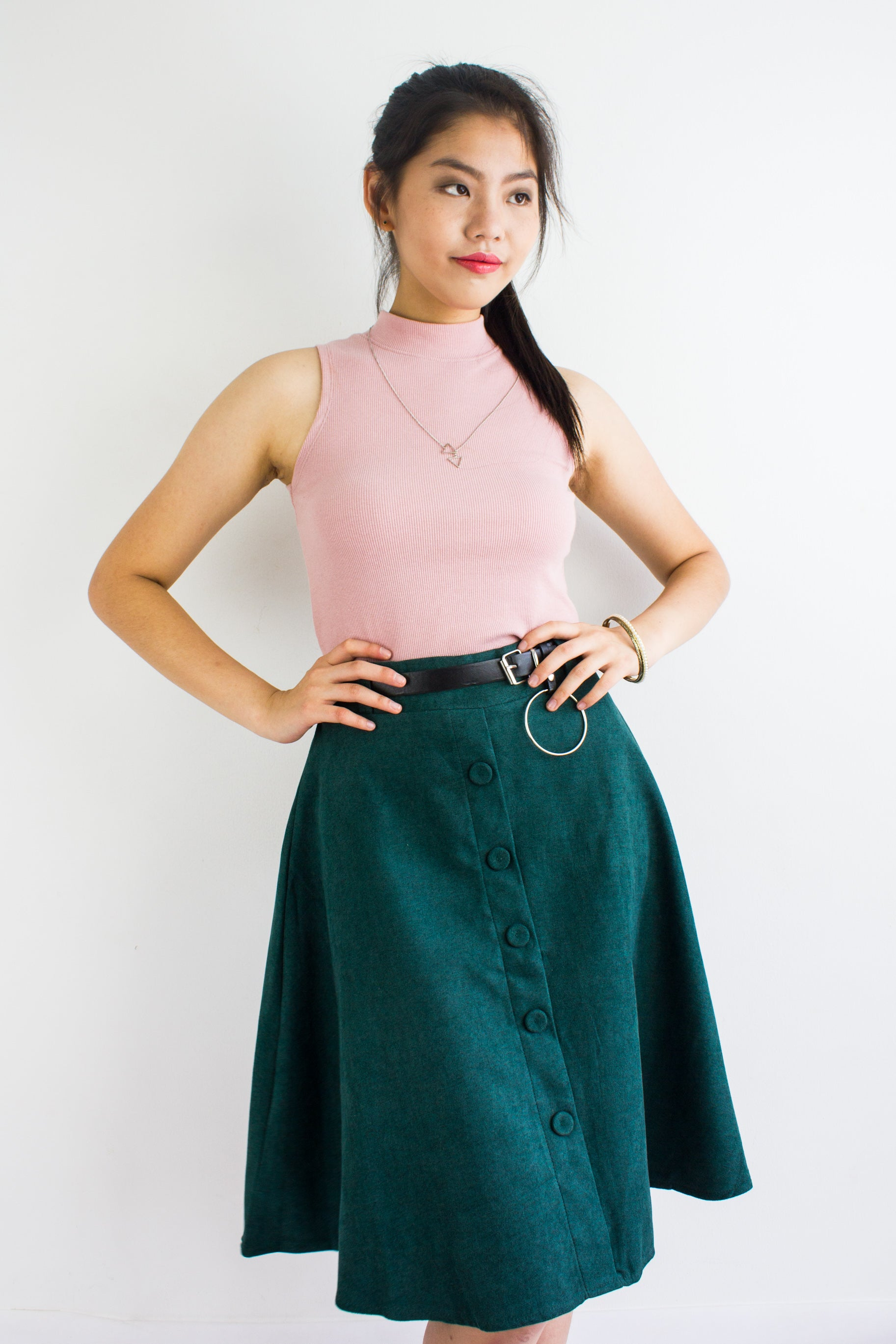 Suede My Way Midi Skirt in Forest Green
