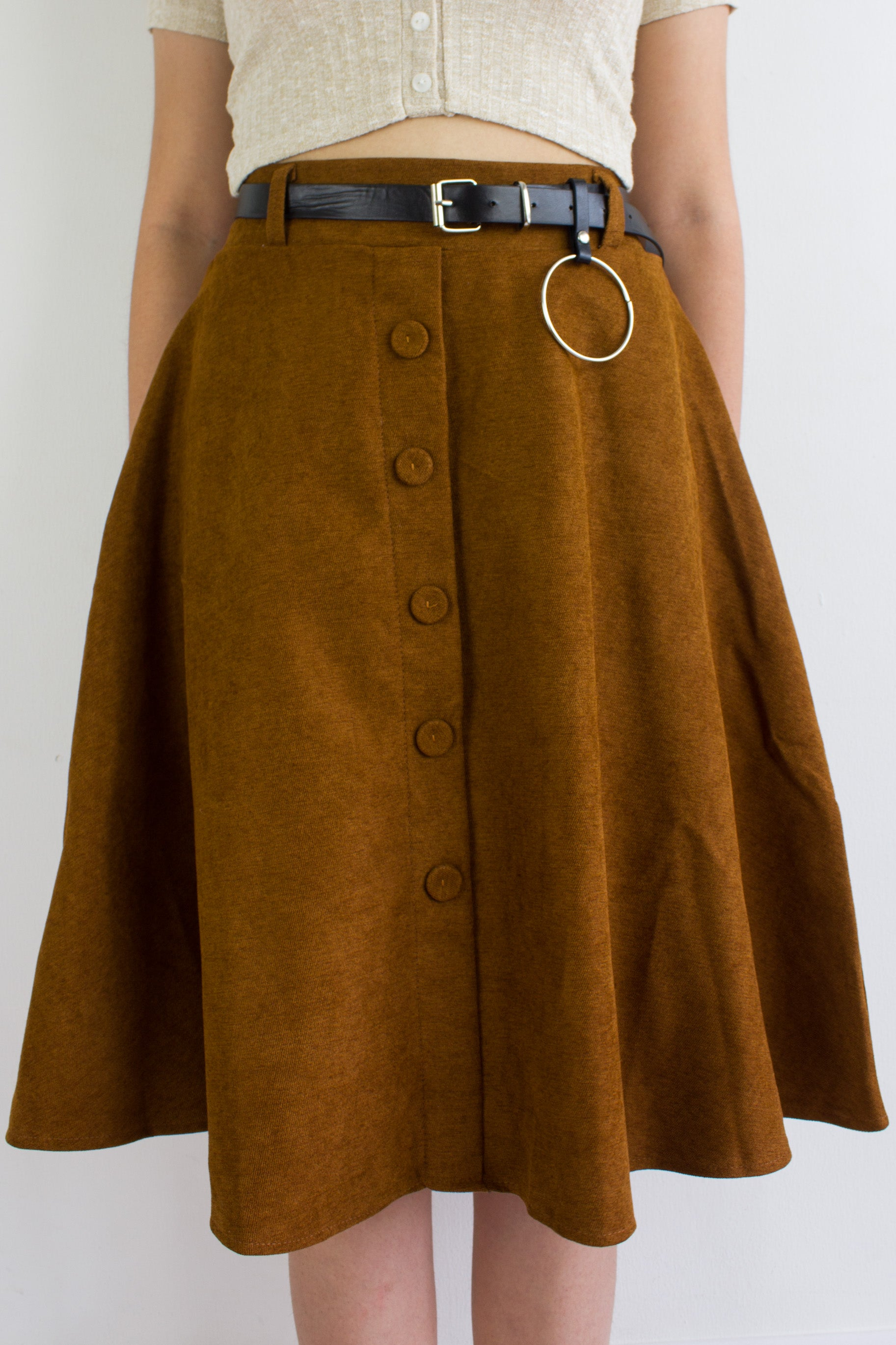 Suede My Way Midi Skirt in Camel Brown
