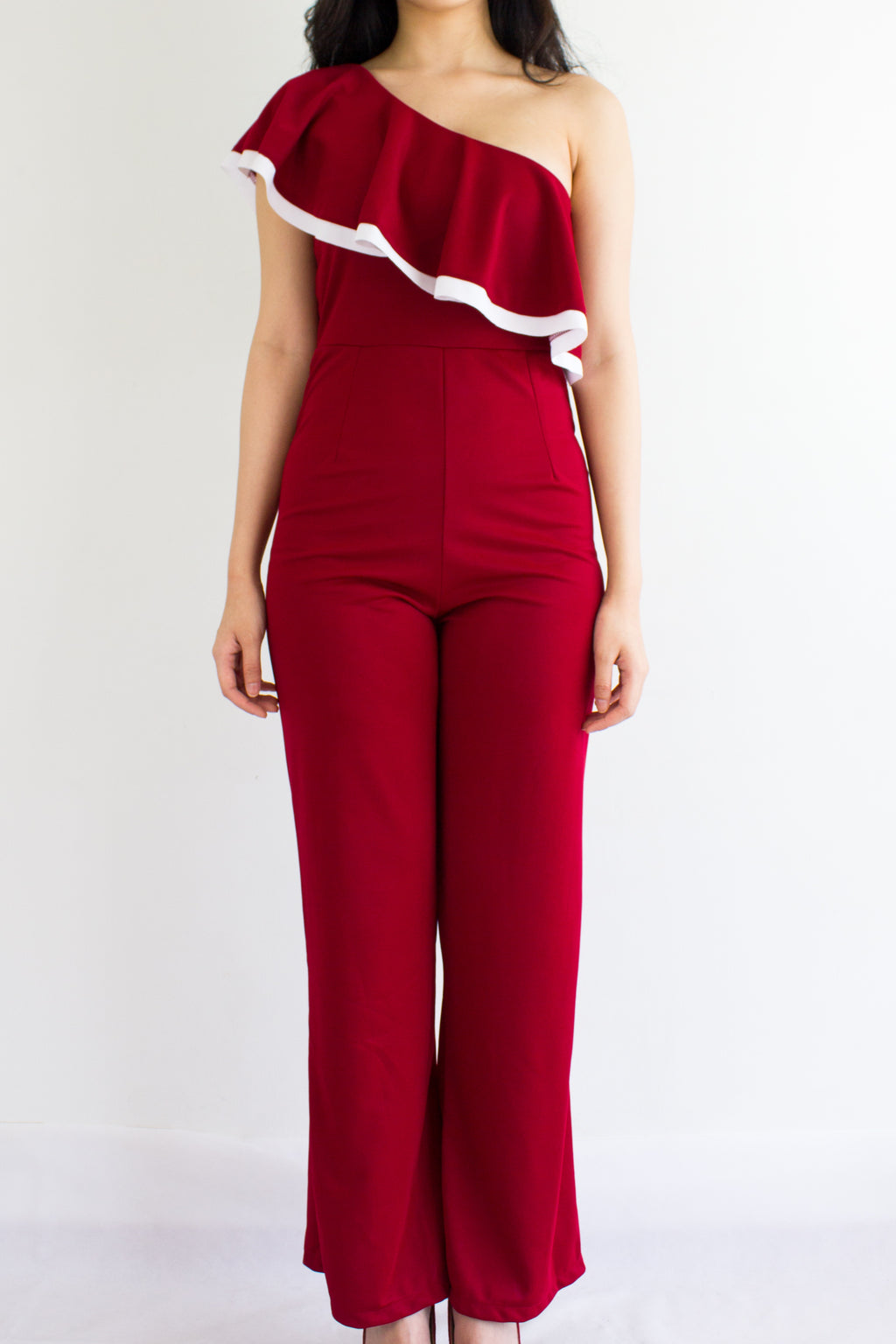 Ruffle My One Shoulder Jumpsuit in Wine Red - BOTTOMS - Peep Boutique