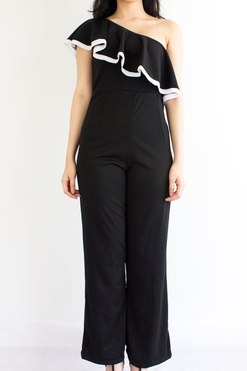 Ruffle My One Shoulder Jumpsuit in Black - BOTTOMS - Peep Boutique