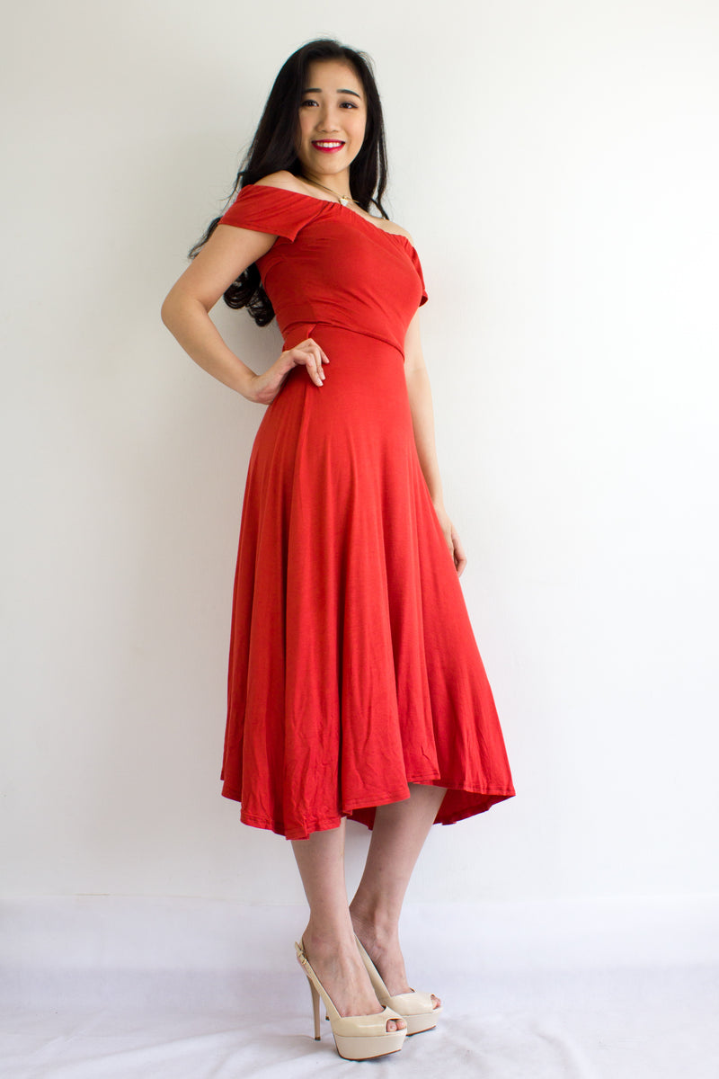 Double Wear Midi Dress in Orange Red - DRESSES - Peep Boutique