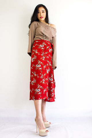 Wild Meadows Wrap Skirt in Red Cotton Flowers