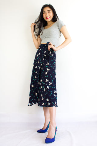 Wild Meadows Wrap Skirt in Navy Lily