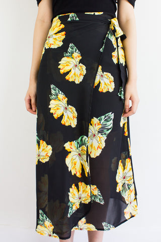 Wild Meadows Wrap Skirt in Yellow Peonies