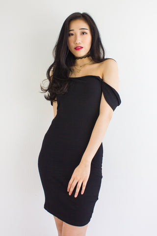On And Off Shoulder Mini Dress in Black