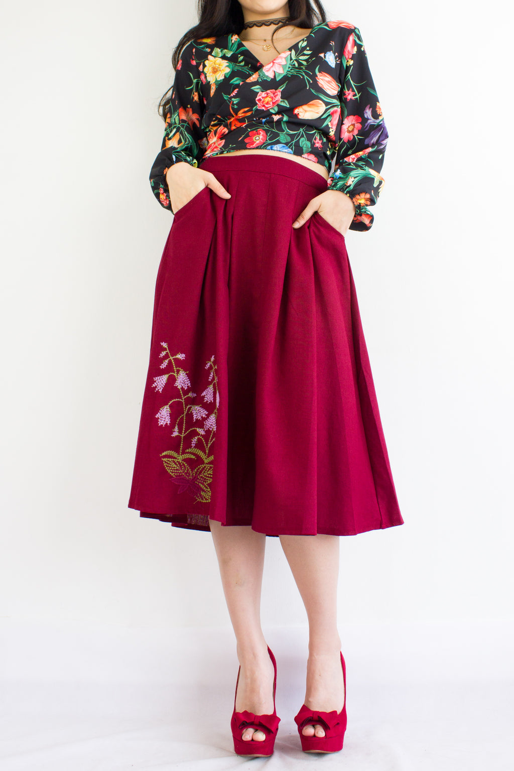 BaiHe Embroidered Linen Skirt in Wine Red - BOTTOMS - Peep Boutique