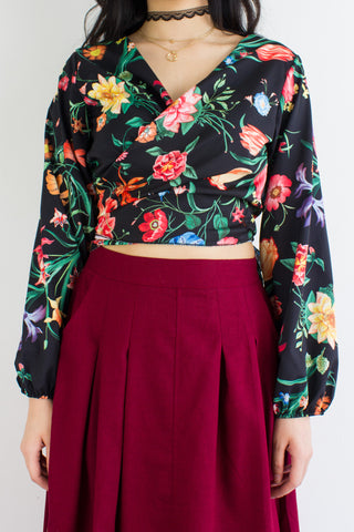 Garden Party Wrap Top in Black Bouquet