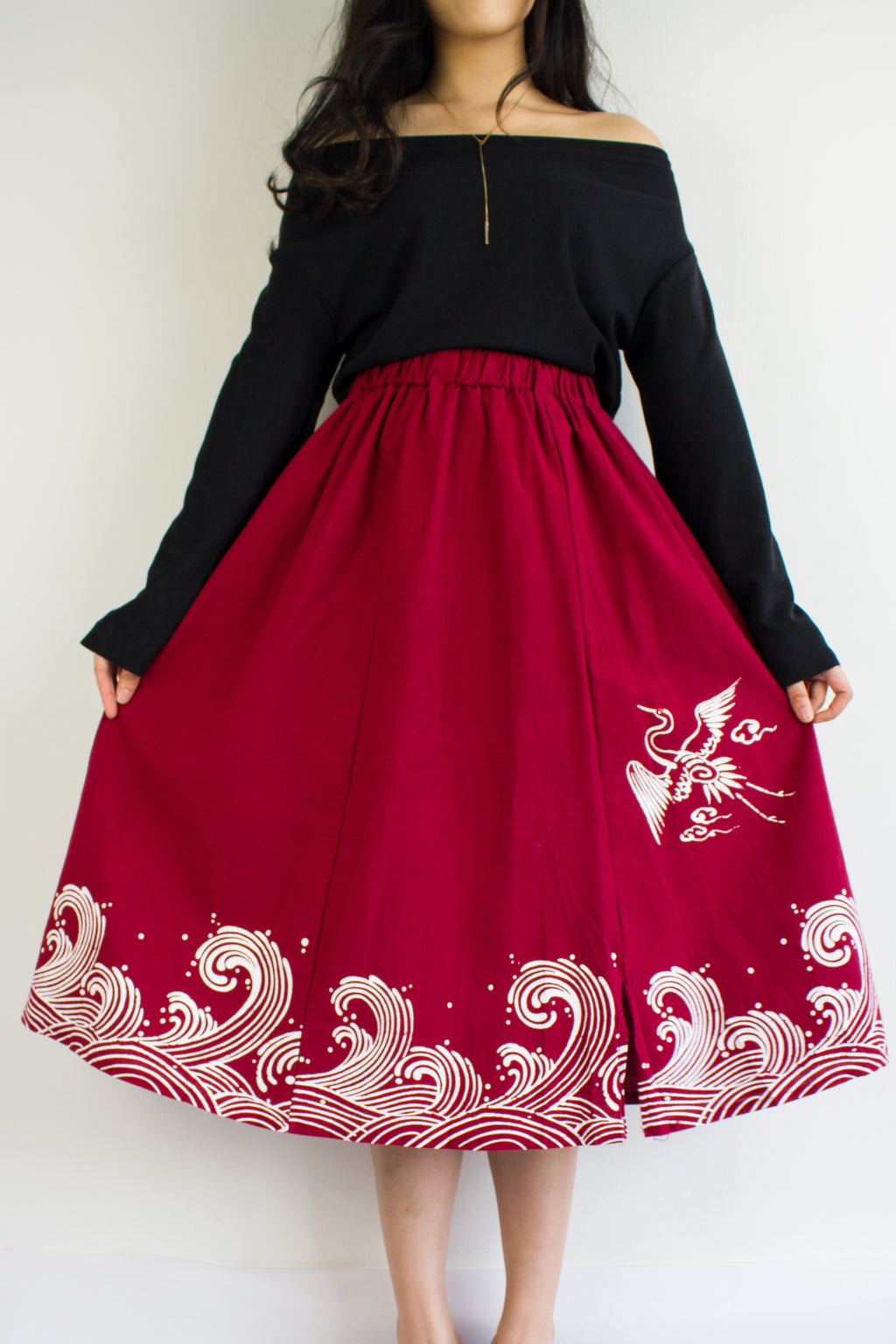 HeLang Linen Midi Skirt in Wine Red - BOTTOMS - Peep Boutique